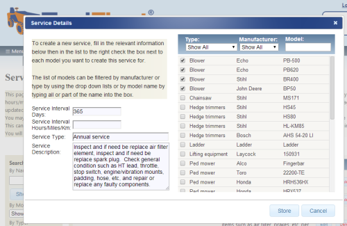Screengrab How to easily set up service intervals for multiple models
