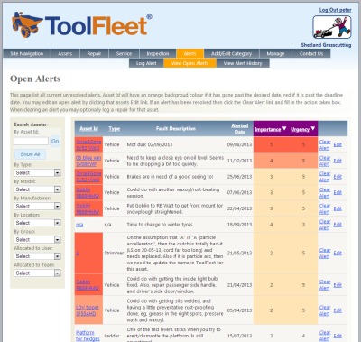 Screengrab of ToolFleet software application