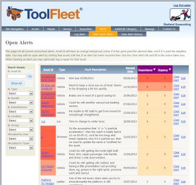 Screengrab of ToolFleet software application