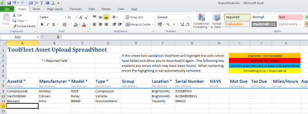 Excel batch import screengrab